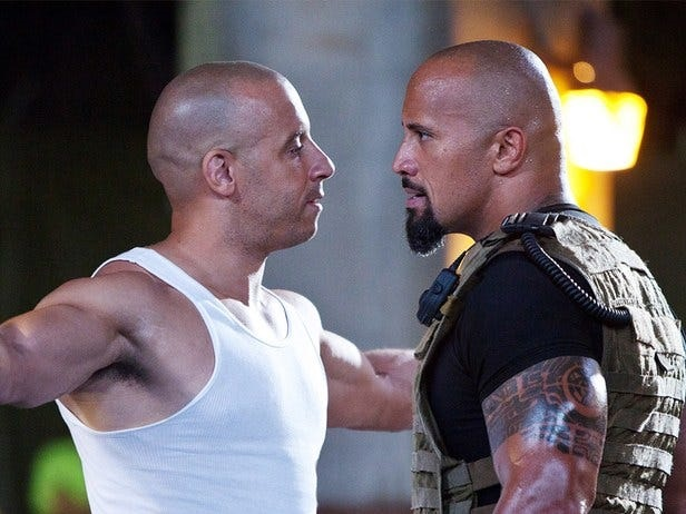 """Vin Diesel and Dwayne """"The Rock"""" Johnson butted heads while filming """"The Fate of the Furious"""" in 2017"""