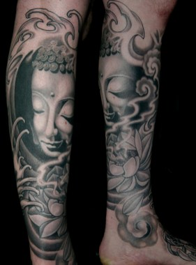 Greywash Buddha leg sleeve tattoo