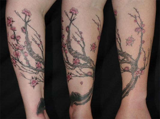 Cherry blossom cover up tattoo