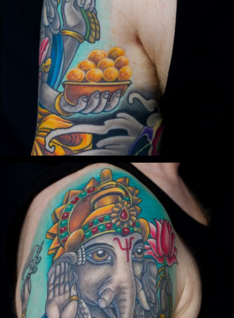 Detail of Ganesh and hybrid sugar skull tattoo