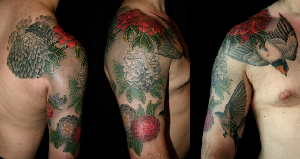 Chrysanthemum and Swallow tattoo