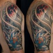 Lotus and Koi fish half sleeve