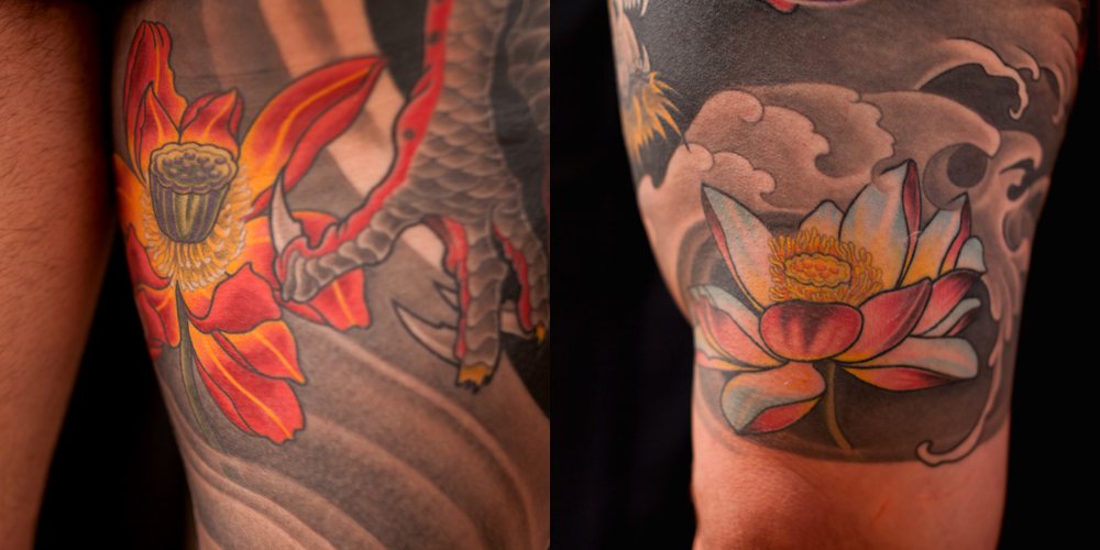 Detail of Dragon and Lotus Thigh Piece Tattoo