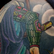 Close up - Benkei Japanese warrior and Kabuto helmut