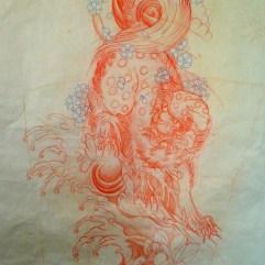 Completed sketch of Shishi (foo dog)