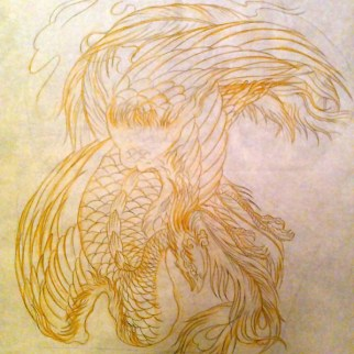 Freehand stencil drawing of phoenix for cover up