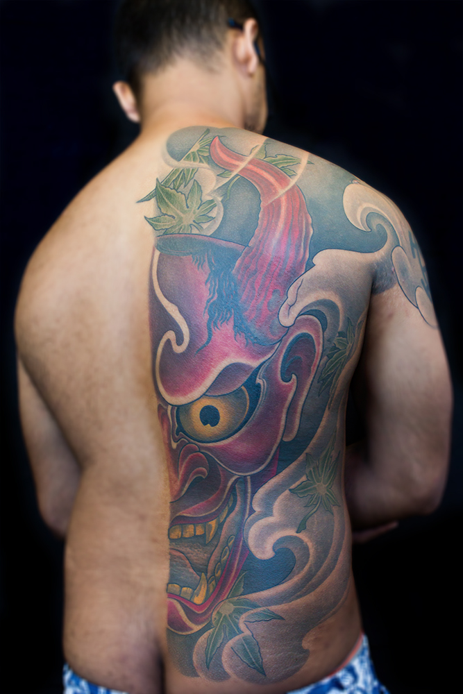 Hannya Mask Back Tattoo by Clare Keton