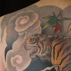 Full range of images of tiger tattoo peice