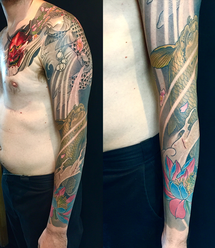 Hannya Mask, Sukura, Koi, Lotus Full Sleeve Tattoo