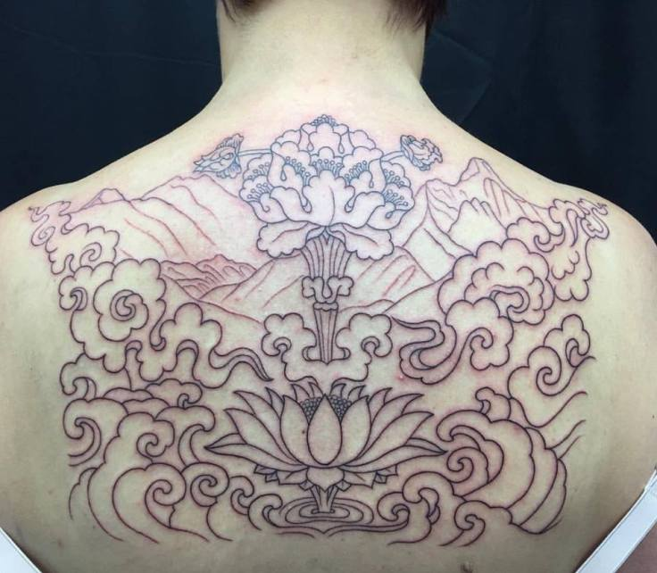 clareketon_tattoos_wip_back_lotus_waves