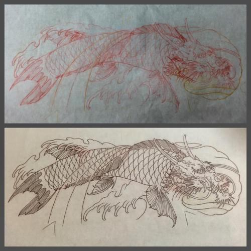 clareketontattoos_wip_koi_freehand_sketch_stencil