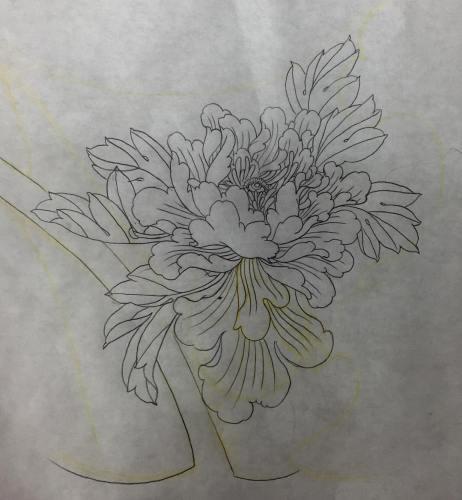 clareketontattoos_wip_peony_stencil_tattoo