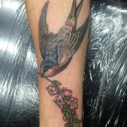 Swallow with Sakura (cherry blossom) cover up tattoo