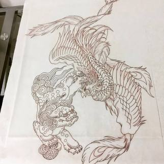 Work in Progress - Pheonix & ShiShi Stencil