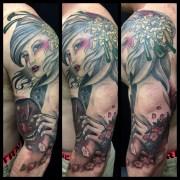 Full Sleeve Geisha, Cherry Blossom, Shikami Mask