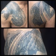 Koi no taki_nabori shoulder and chest tattoo