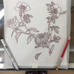 Dog rose, peony & daisy forearm (to work around existing tattoo)