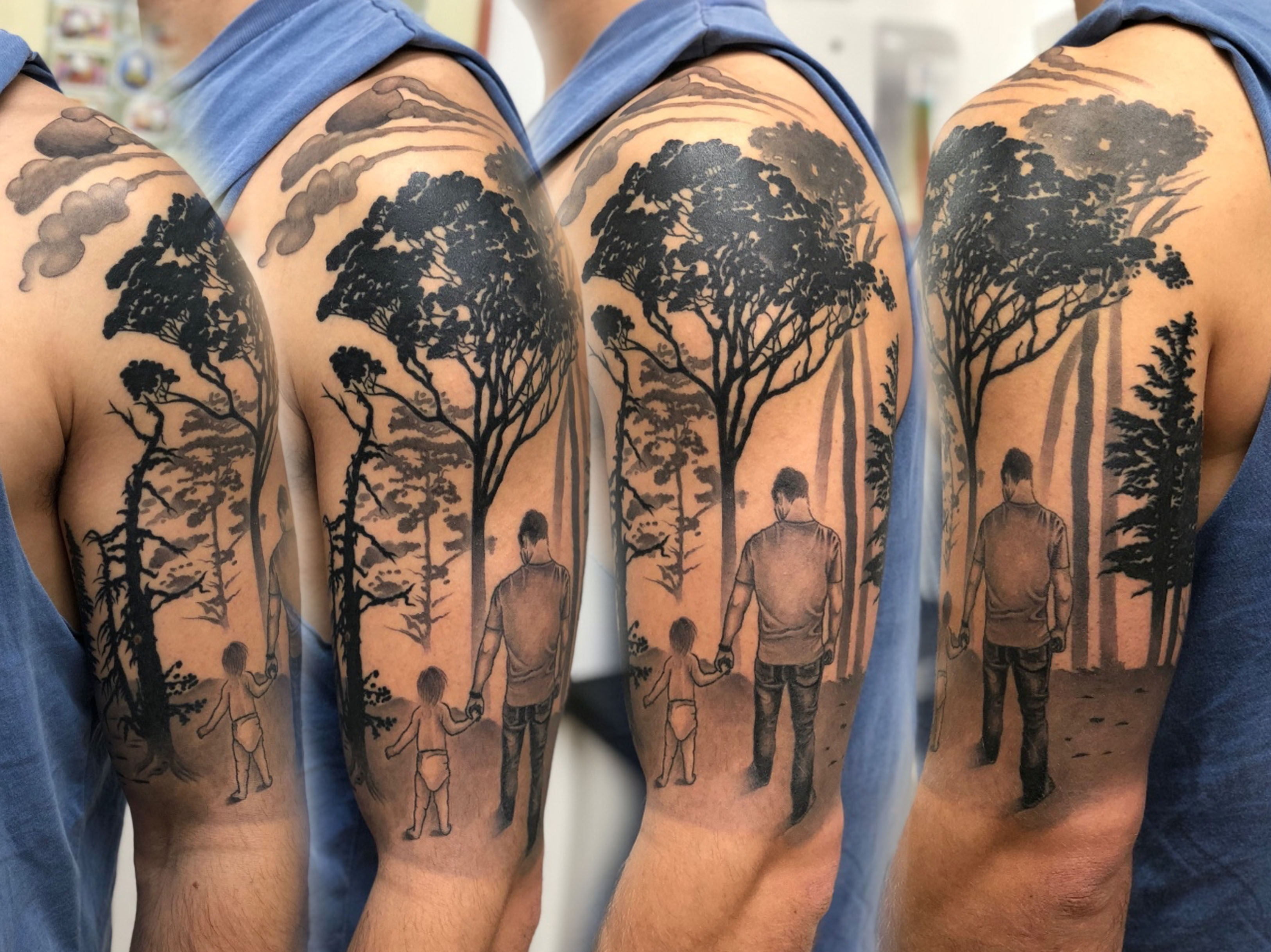 Dad and Child Australian Bush Scene Tattoo
