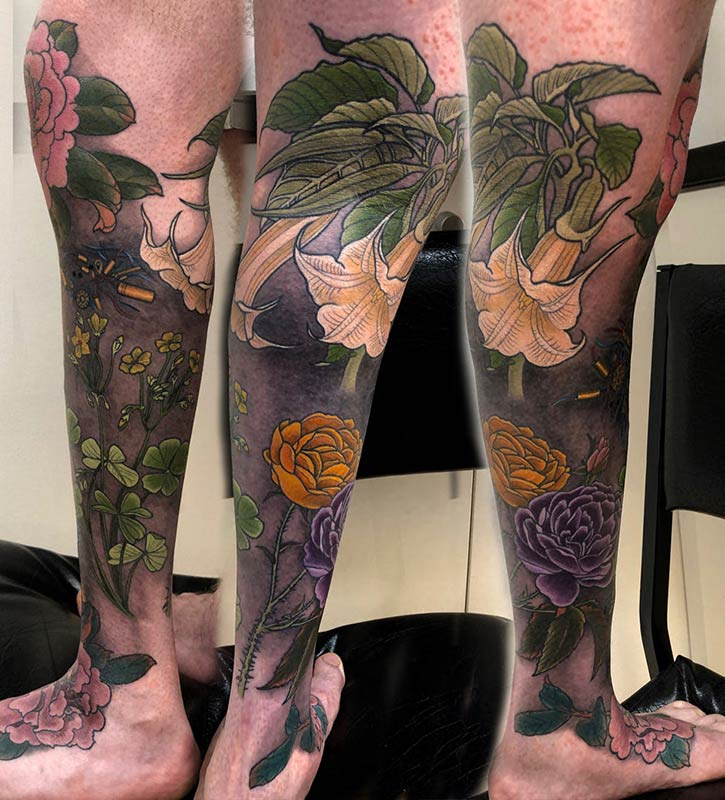 Datura, Roses and Peony Tattoo