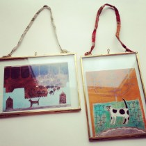 Glass Picture Frames in Antique Brass, 5 x 7 inches.