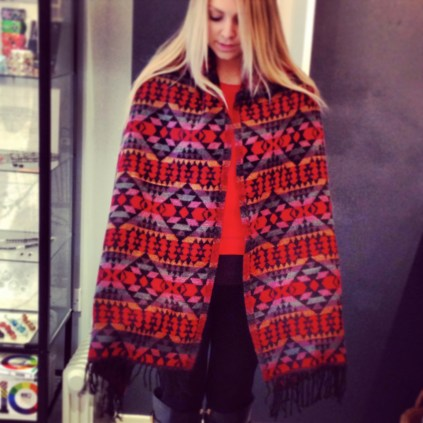 Red Multi Square Aztec Stole, 65 x 180cms.