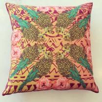 'Charlie Budgie' Wool Twill cushion with Liberty back 45cm x 45cm £55