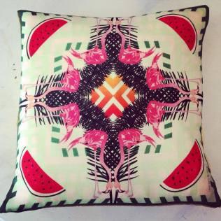 'Flamingo' Wool Twill cushion 36cm x 36cm £35