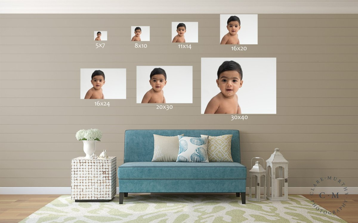 A to-scale guide to show how different sizes of photo compare on a wall