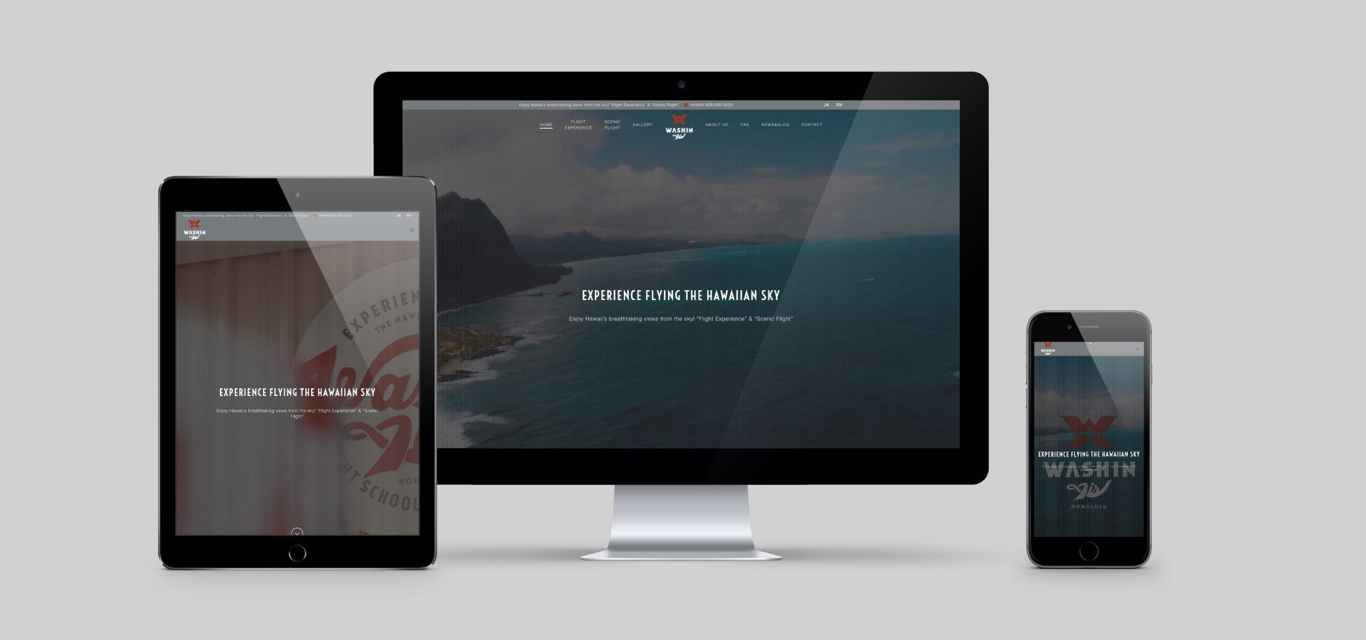 Washin Air Website on Computer, Tablet, Smartphone