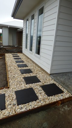 Just a few pavers and rocks.