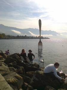 This fork sculpture at Vevey, Lake Geneva is a bit of fun
