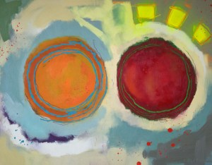 Three High Flying Hi-Vi Jackets 47cm x 36.5cm Oil on paper SOLD