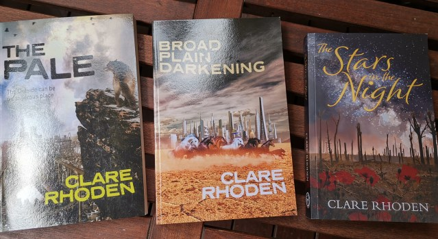 Three novels by Clare Rhoden: The Pale, Broad Plain Darkening, The Stars in the Night