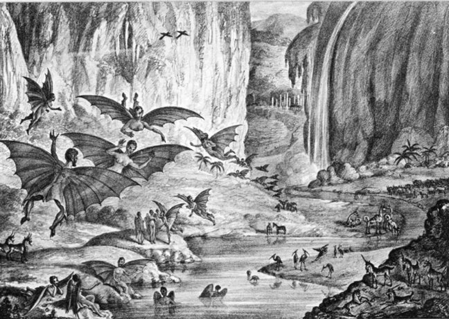 The Great Moon Hoax 1835, a lithograph from the New York Sun (source Wikipedia)