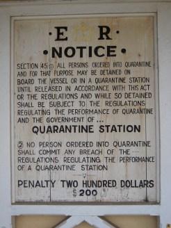 Quarantine station sign