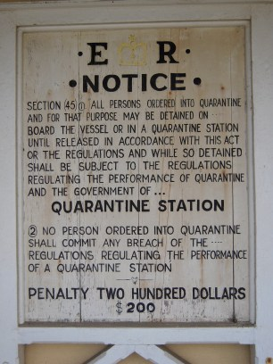 Quarantine station sign