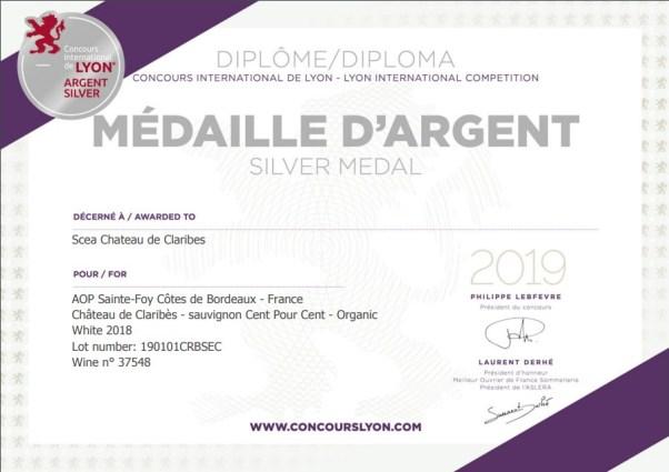 Silver Medal at 2019 Concours International de Lyon