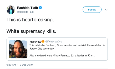 Rashida Tlaib Falsely Blames White Supremacists For Alleged Anti-Semitic New Jersey Massacre By Two Black Shooters