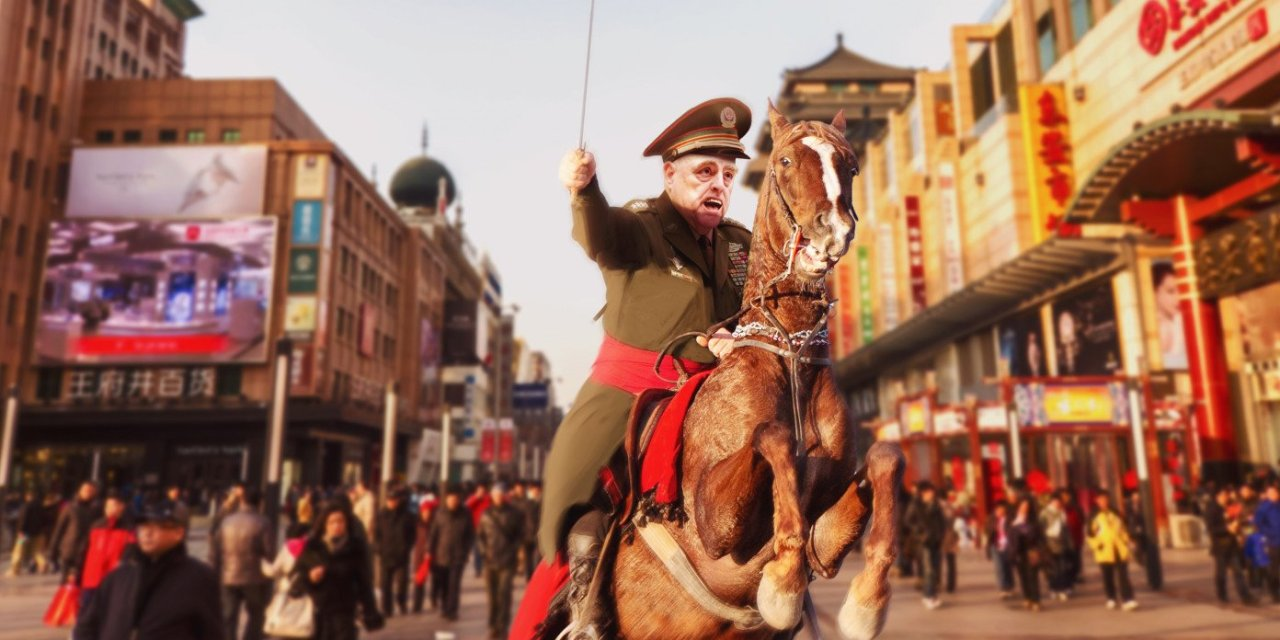 General Milley Rides Through Streets Of Beijing Shouting 'The Americans Are Coming!'