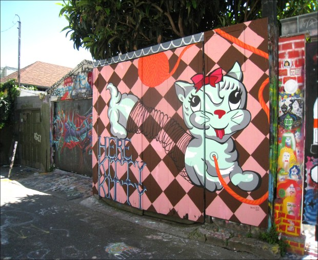 "Bunnie Reiss, ""Here Kitty Kitty,"" Clarion Alley, 2011"