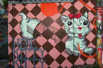 """Bunnie Reiss, """"Here Kitty Kitty,"""" Clarion Alley, 2011"""