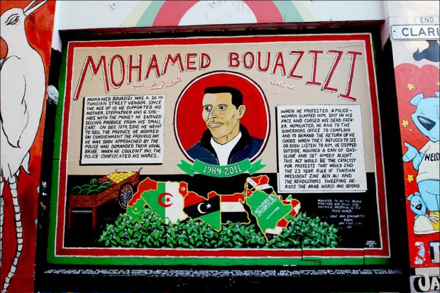 "Daniel Doherty, ""Mohamed Bouazizi,"" Clarion Alley, 2011"