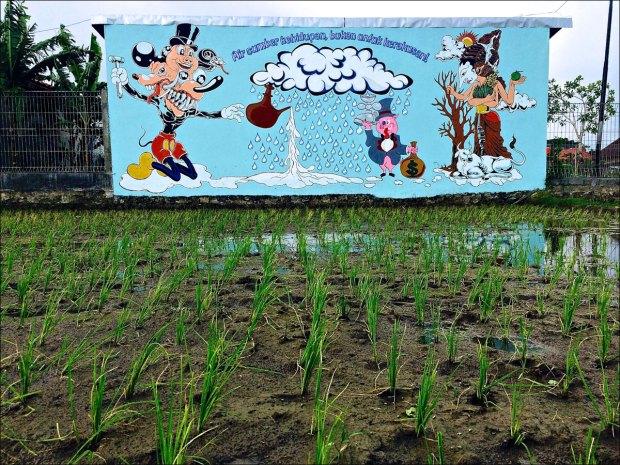 "Christopher Statton and Nano Warsono, ""Air Sumber Kehiduan, Bukan Untuk Kerakusan!, "" Geneng Street Art Project #3, 2015"
