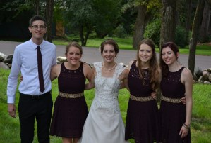 My wedding party (from left to right) Mark, Kathy, me, Cait, Amanda