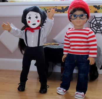 Pippa as a mime and Theo as Waldo