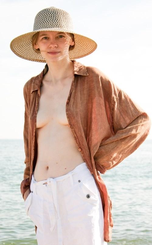 Polish girl on the beach in the UK