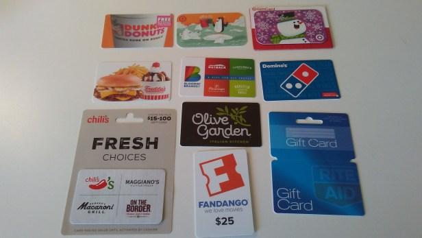 an assortment of gift cards
