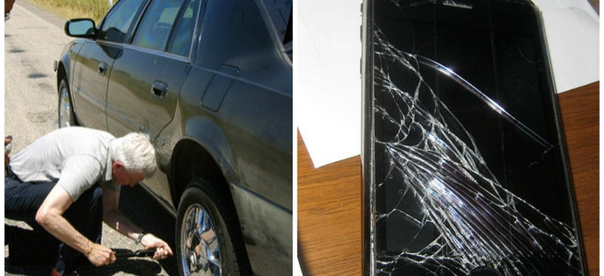 Collage of flat tire fix and cracked phone screen