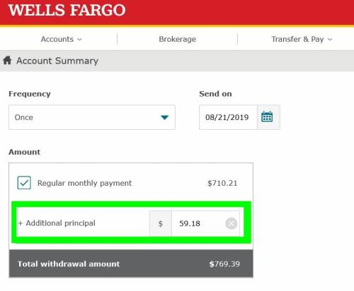 Wells Fargo monthly mortgage payment with additional principal