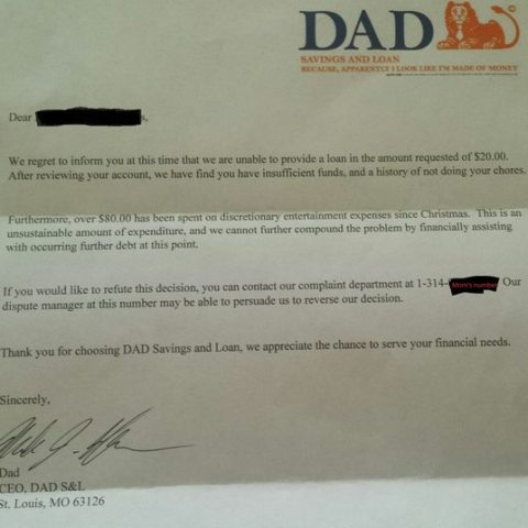 This dad had the best response when his son asked for money